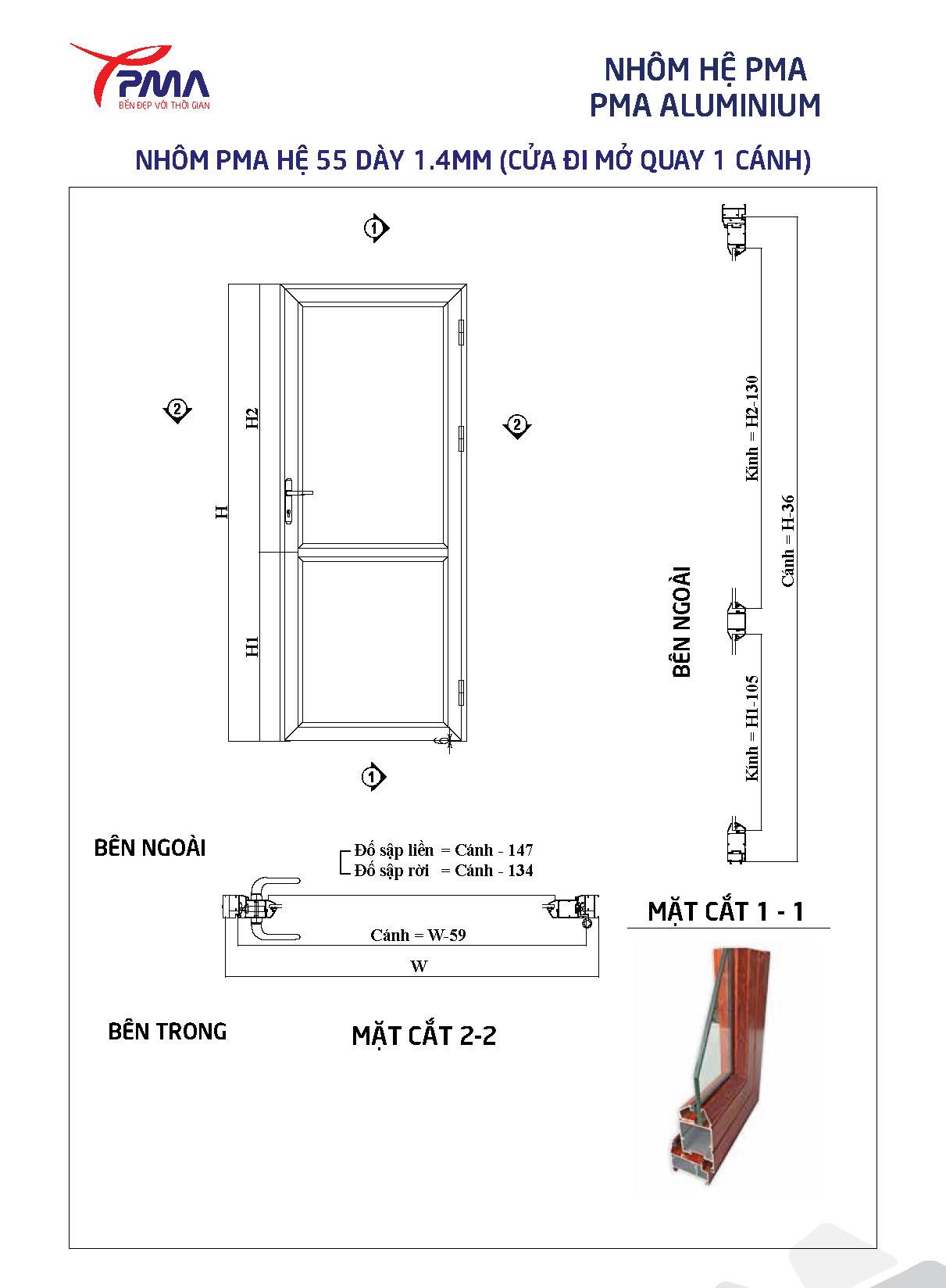Cửa nhôm Cao cấp TPDoors - Hệ PMA